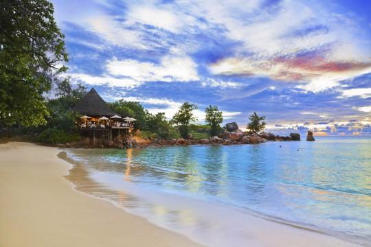 Seychellen: Café am Strand