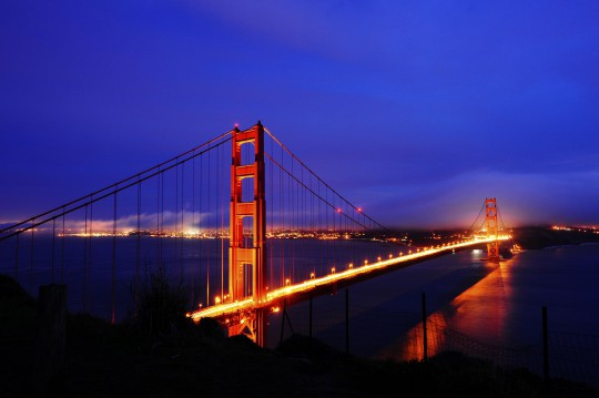San Francisco: Golden Gate Bridge bei Nacht