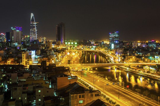 Saigon & Südküste: Blick auf Saigon bei Nacht