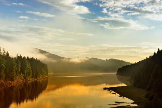Harz: Sonnenuntergang Sösestausee