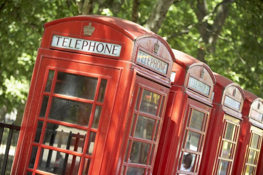 London: Red Telephone Booths In A Row