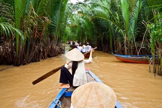 Saigon & Südküste: Boot auf Fluss Mekong